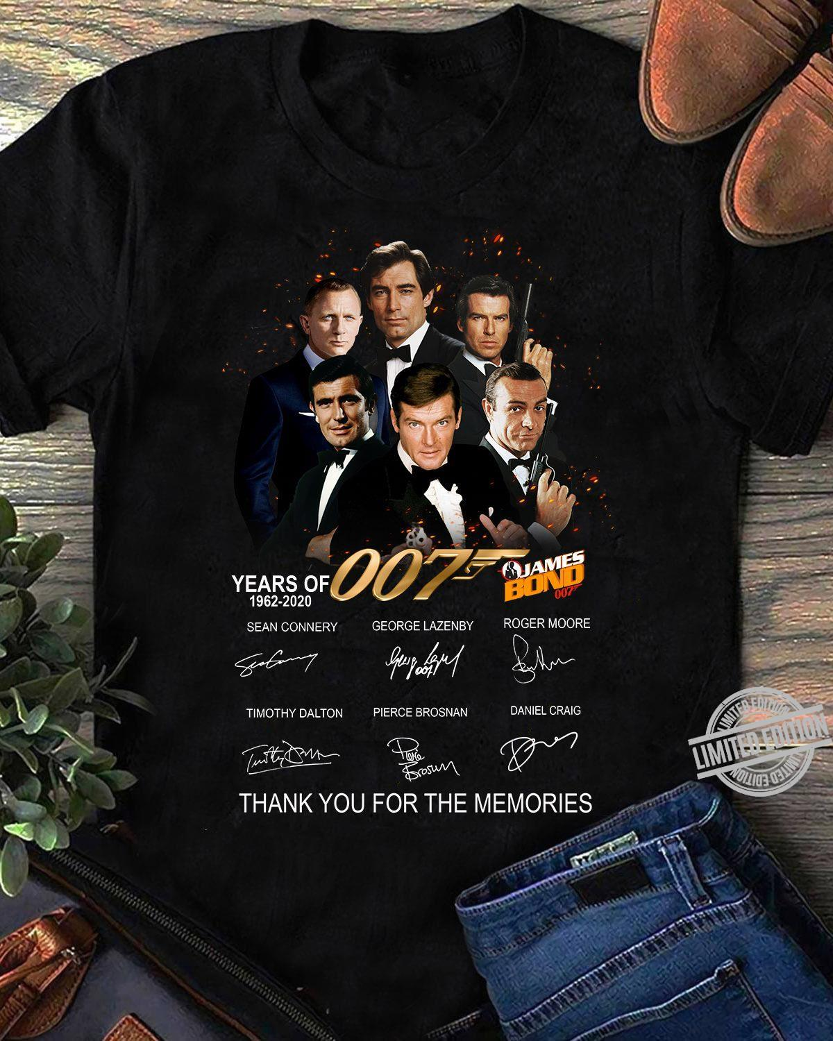 007 James Bond Years Of 1962-2020 Thank You For The Memories Shirt