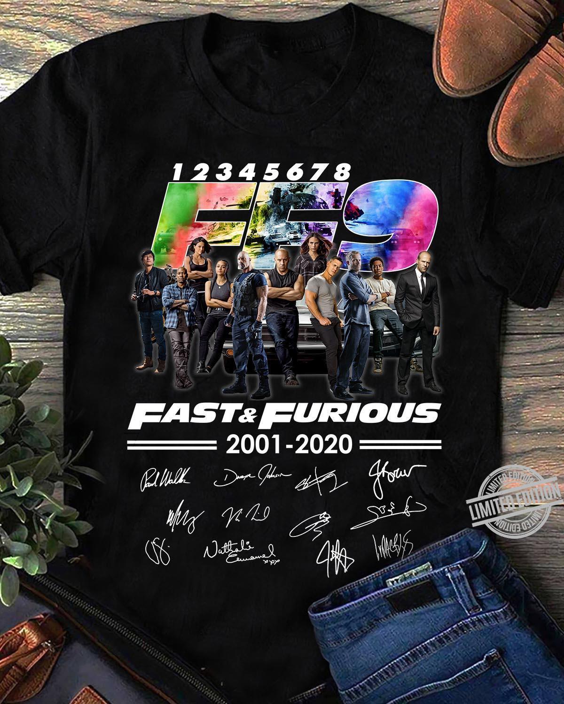 1 2 3 4 5 6 7 8 FF9 Fast & Furious 2001-2020 Signatures Shirt