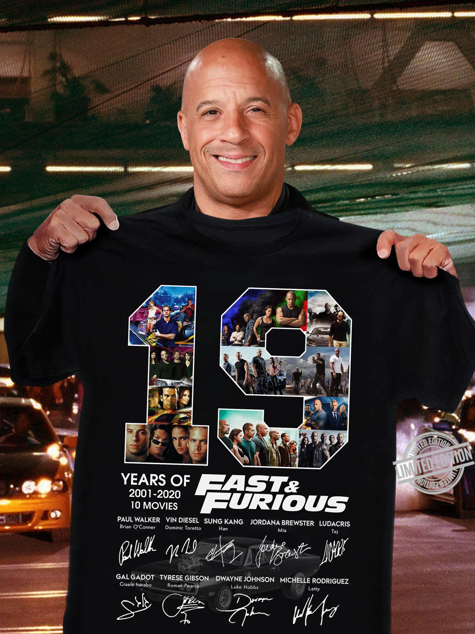 19 Years Of 2001-2020 10 Movies Fast & Furious Shirt
