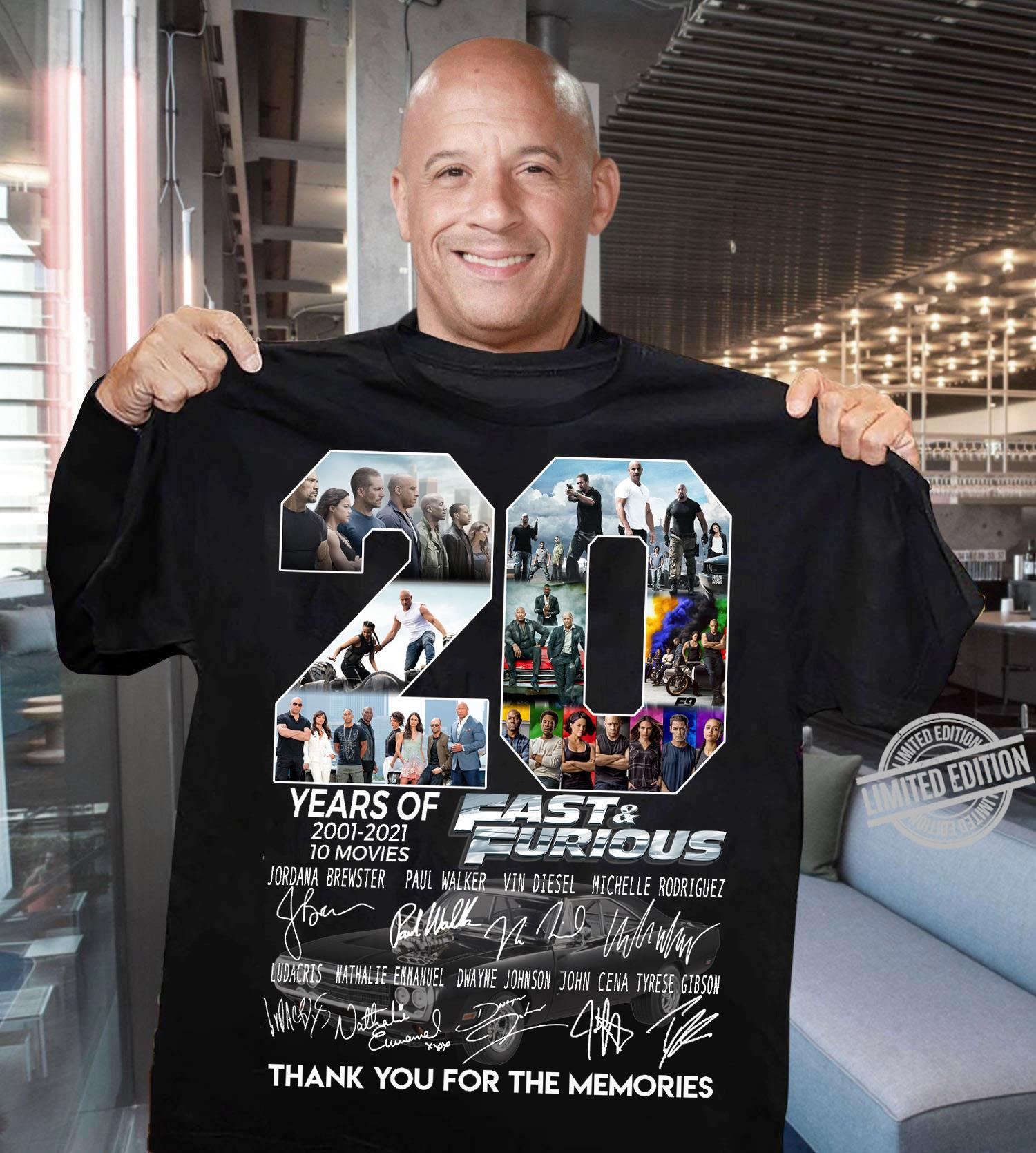 20 Years Of 2001-2021 10 Moves Fast & Furious Thank You For The Memories Shirt