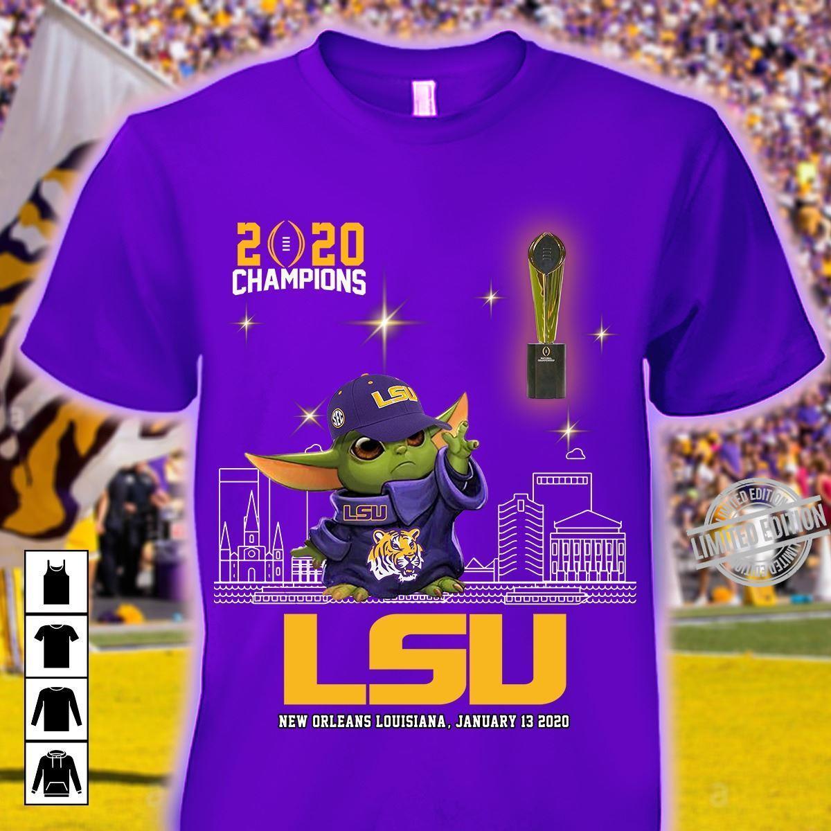 2020 Champions Baby Yoda LSU New Orleans Louisiana Shirt