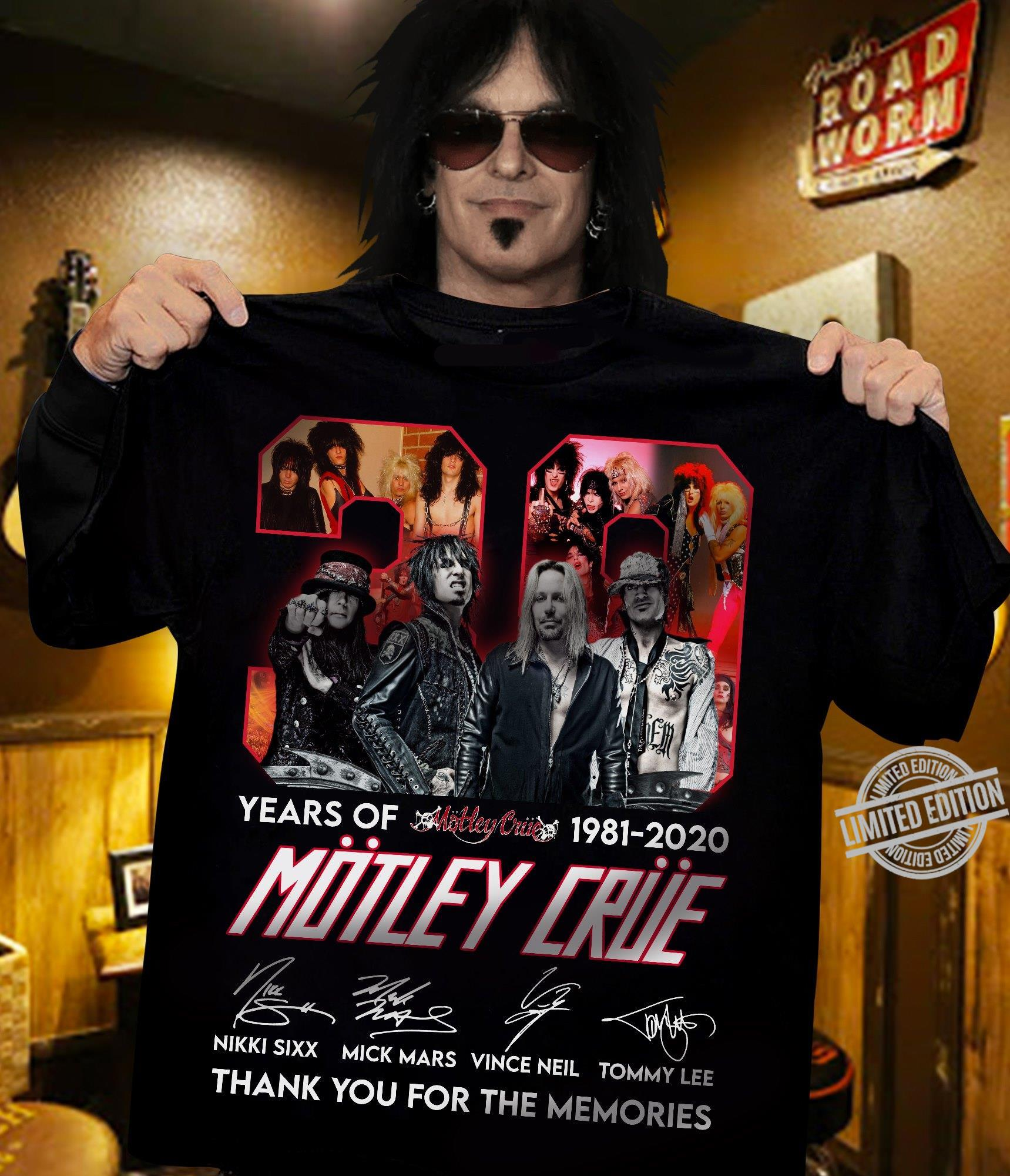 30 Years Of 1981-2020 Motley Crue Thank You For The Memories Shirt