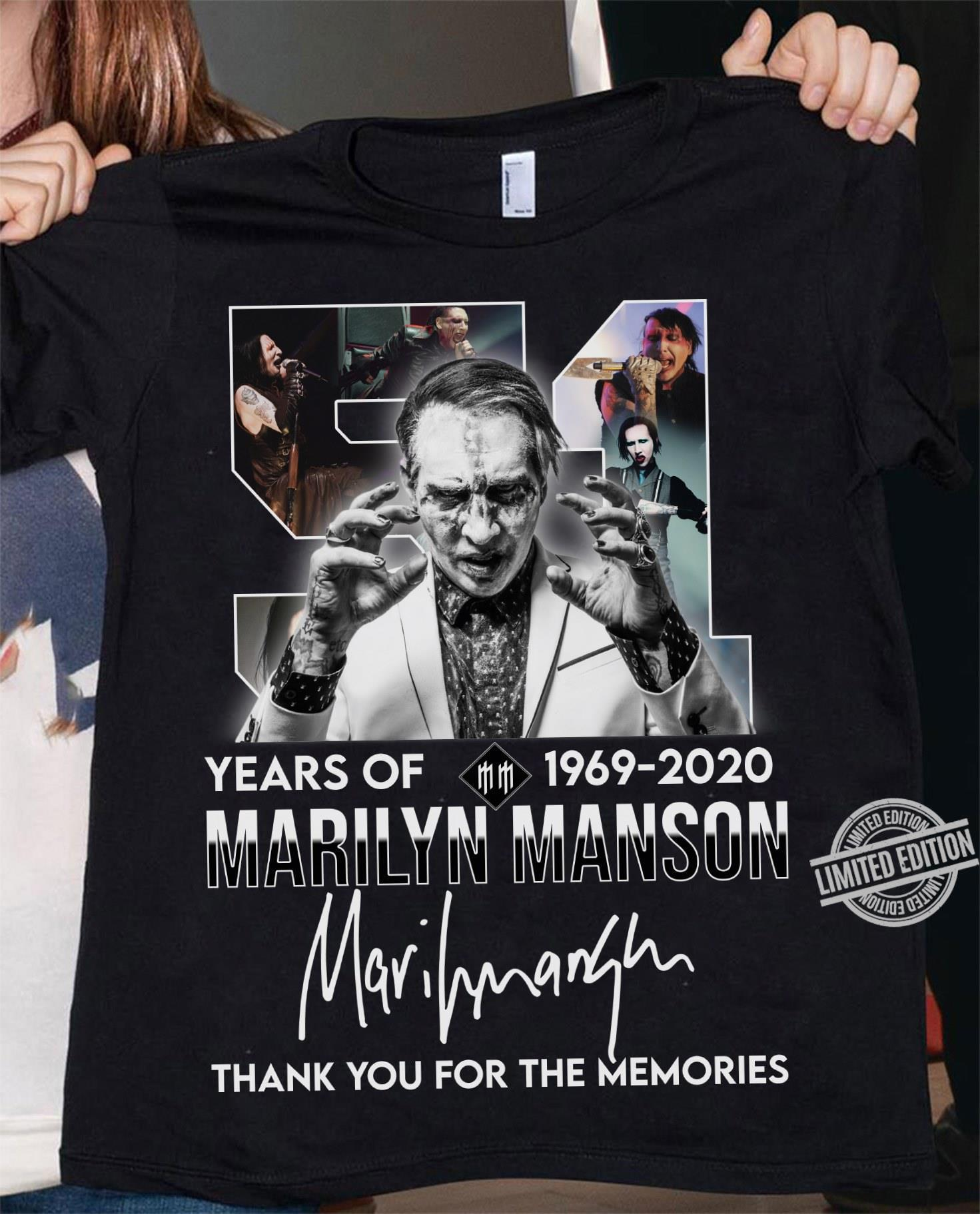 51 Years Of 1969 2020 Marilyn Manson Thank You For The Memories Shirt