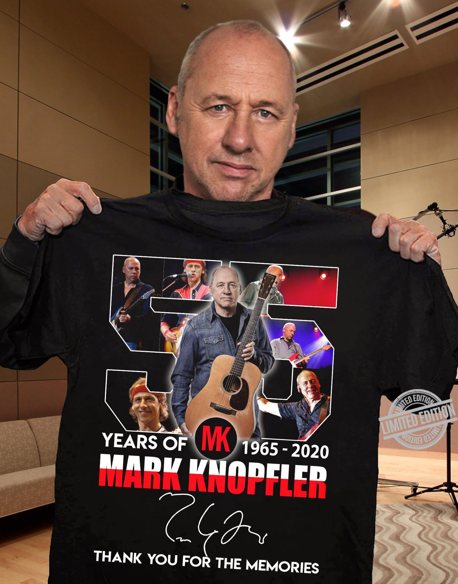 55 Years Of Mark Knopfler 1965 2020 Signature Thank You For The Memories Shirt