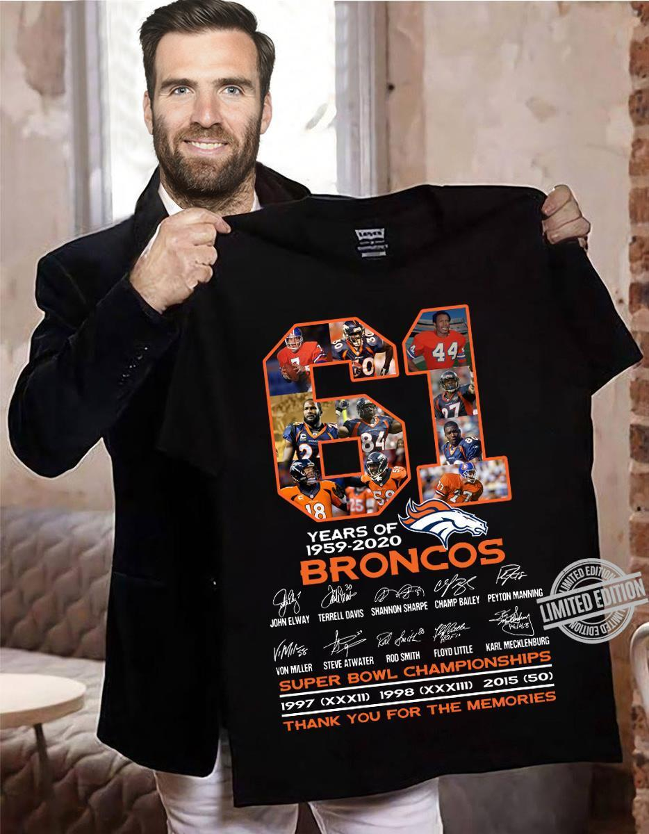 61 Years Of 1959-2020 Broncos Super Bowl Championships Shirt