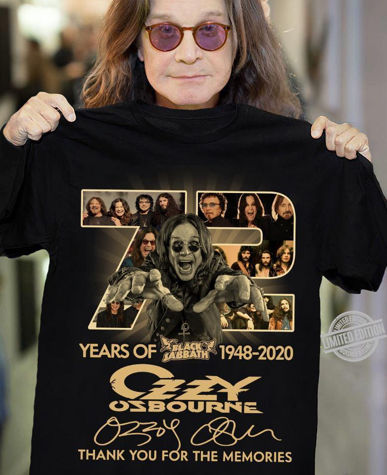 72 Years Of 1948-2020 Czzy Osbourne Thank You For The Memories Shirt