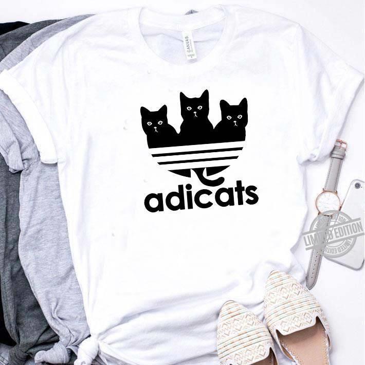 A Black Cat And Adidas Adicats Shirt