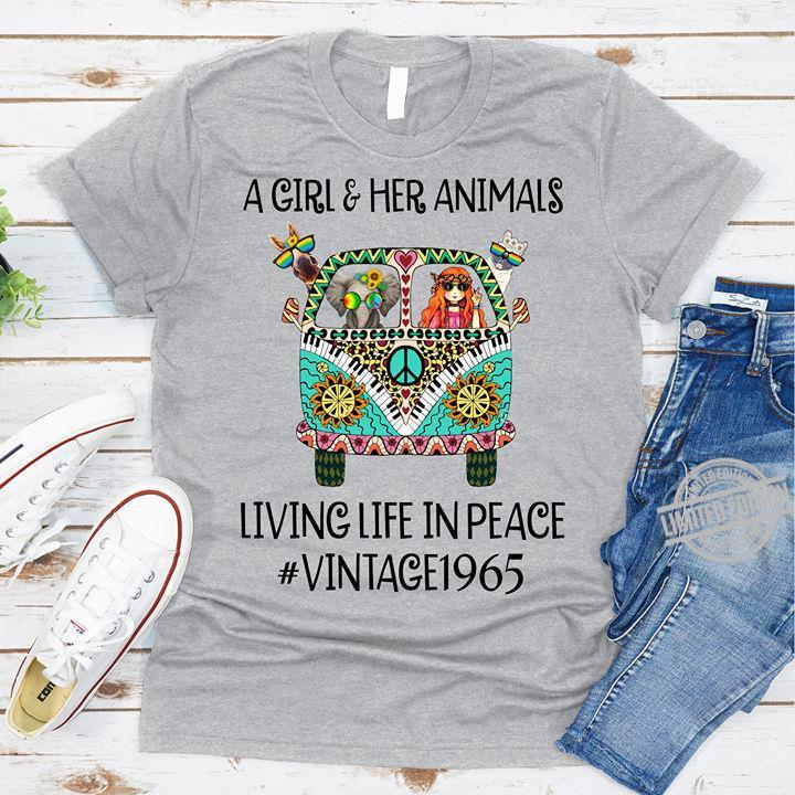 A Girl & Her Animals Living Life In Peace Vintage 1965 Shirt