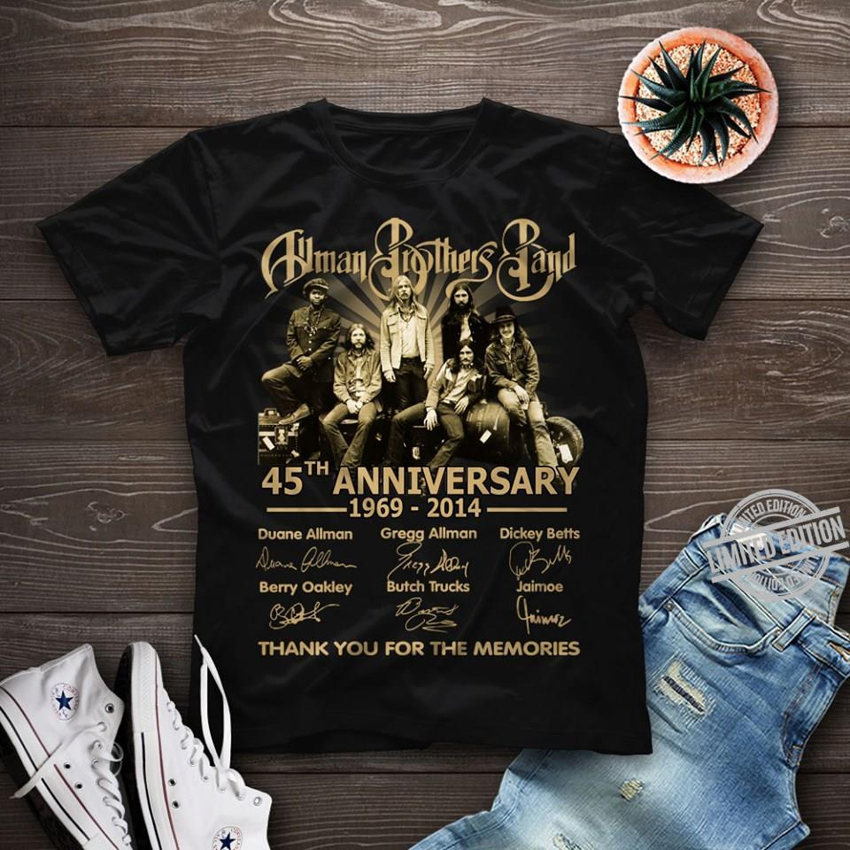 Allman Brother Pand 45th Anniversary 1969 2014 Thank You For The Memories Shirt