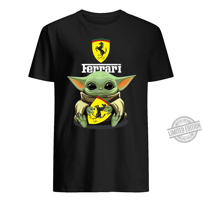Baby Yoda Hug Ferrari Symbol Shirt